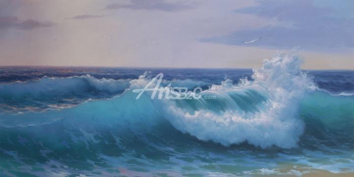 原创海浪风景油画,客厅装饰油画