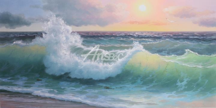 油画 欧式风格油画 风景油画 海浪油画,浪花油画,客厅装饰油画 os
