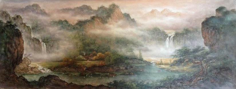 山水油画 聚宝盆 办公室风水油画 oc2-9