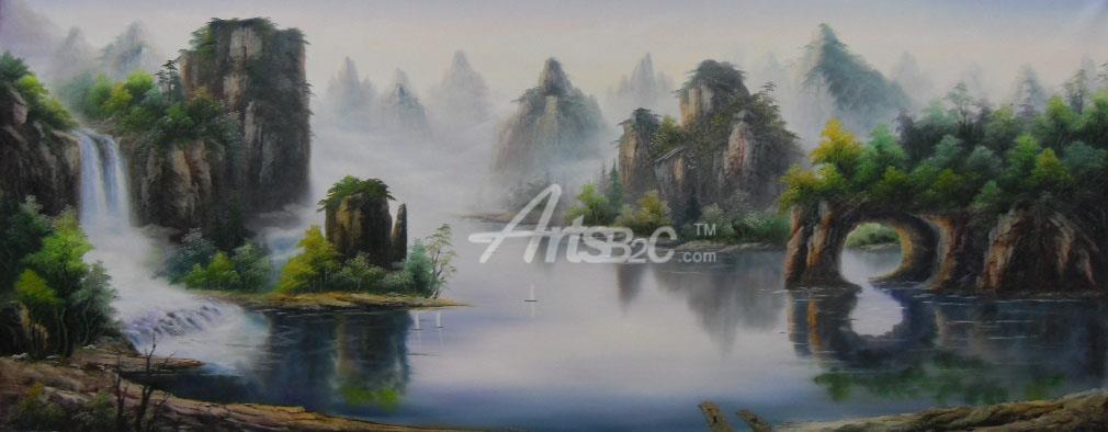 桂林山水油画 中国风格山水油画 ocz1-2 (阿特斯艺术)