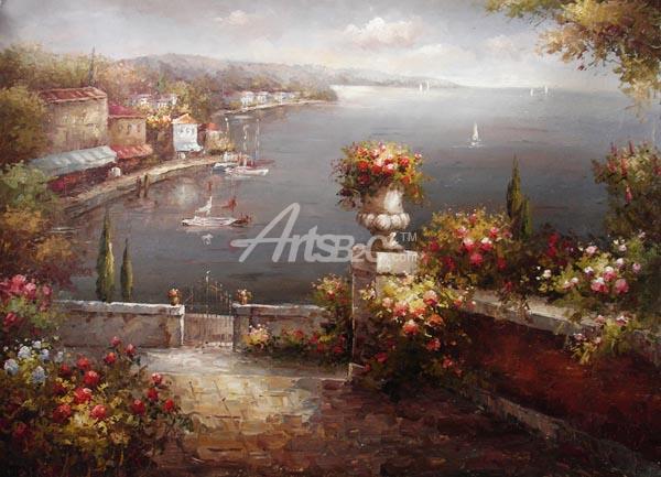 油画 欧式风格油画 风景油画 地中海油画 暗色系 海岸花园 oce2-6
