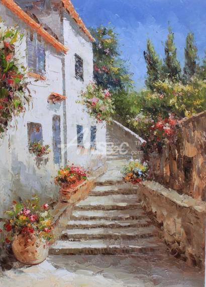 油画 欧式风格油画 风景油画 西班牙风情油画 别墅花丛 建筑油画 oce2