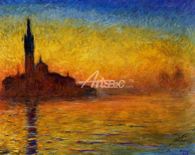 圣乔治·马焦雷教堂的黄昏 莫奈油画 世界名画