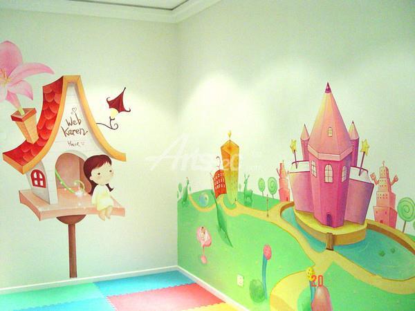房墙绘 梦想和城堡 儿童房墙绘