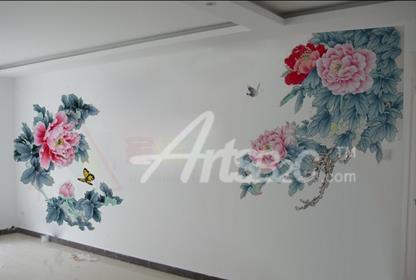 电视背景墙手绘图片 牡丹花