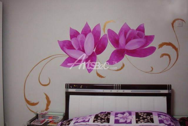 卧室手绘墙 粉红花卉 卧室墙绘