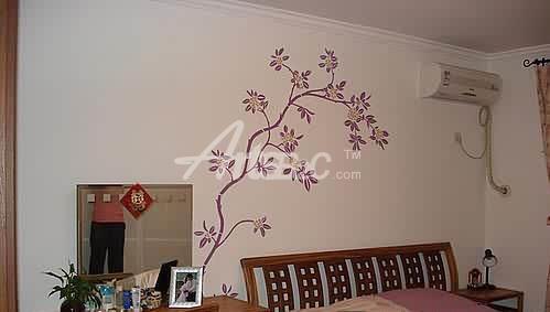 卧室手绘墙 茎藤植物