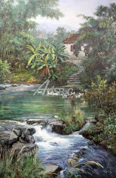 乡村油画,田园油画,人文景观油画;网购油画就上阿特