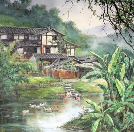 乡村田园油画