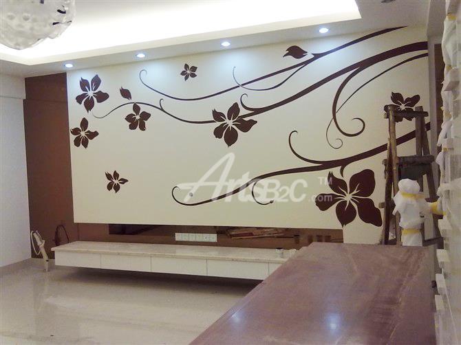 电视背景墙墙体彩绘
