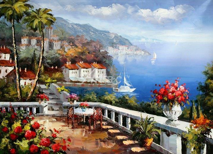 油画 欧式风格油画 风景油画 地中海油画 地中海花园风景油画 oce2-70