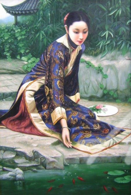 古典人物油画 民国美女油画 ocz4-13
