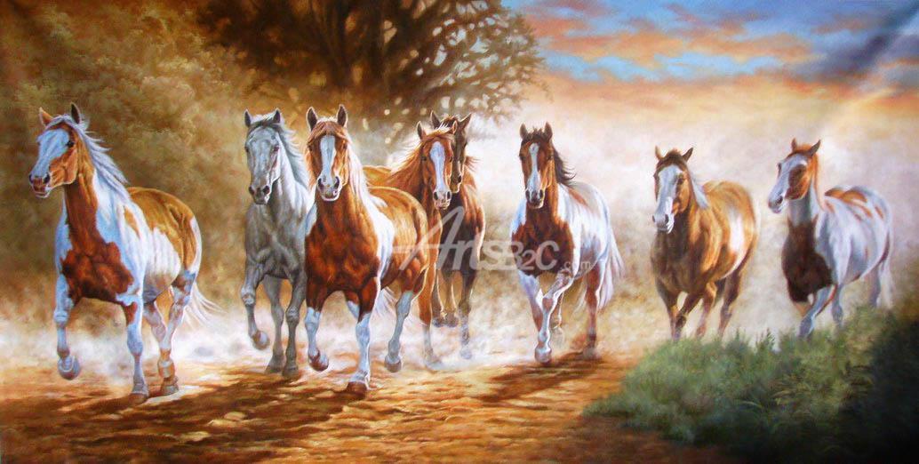 高档手绘八骏马油画 办公室横幅八骏马油画