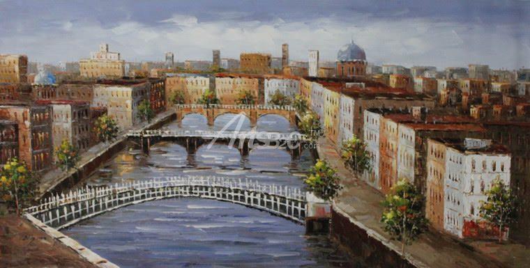 欧式小镇油画 全景街道油画