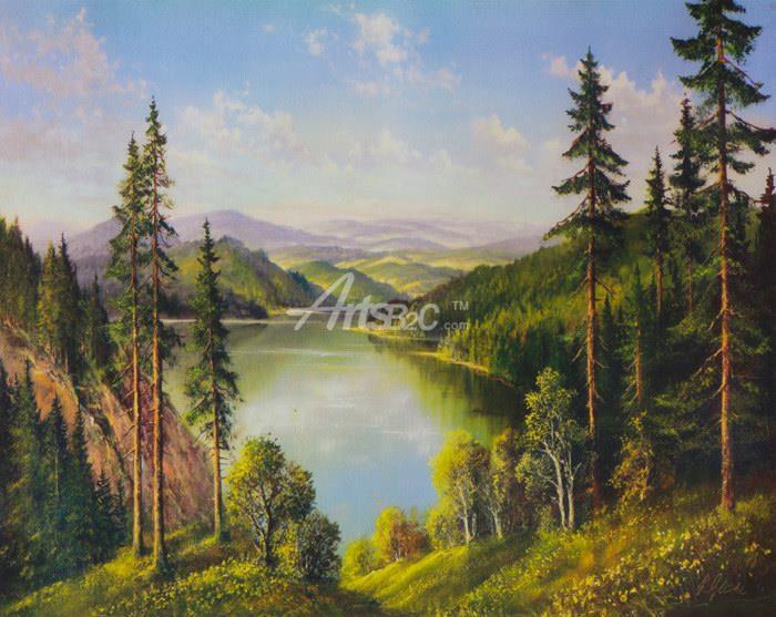北欧风景油画