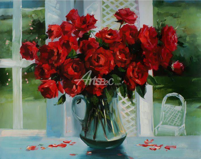 油画 欧式风格油画 花卉油画 玫瑰花油画瓶花