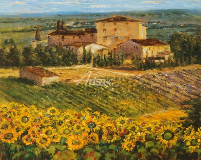 油画 欧式风格油画 风景油画 向日葵田园农场油画