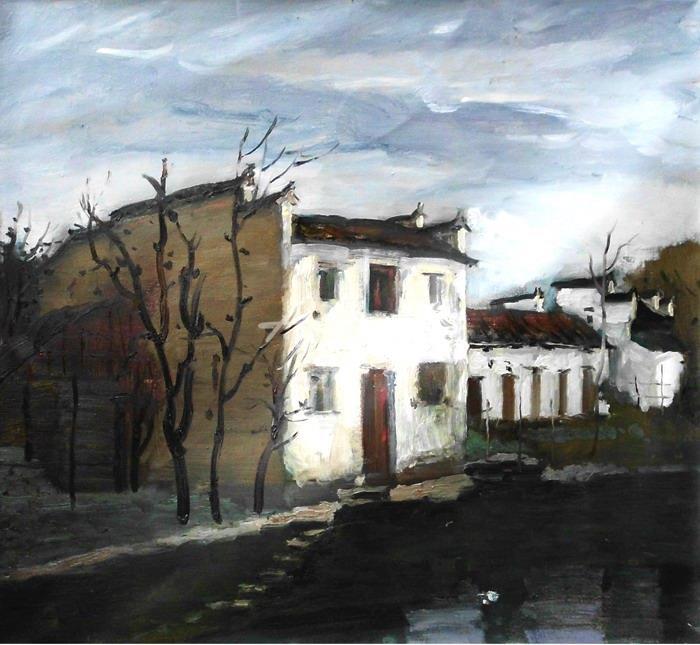 油画 中国风格油画 中国乡村油画 徽派建筑油画