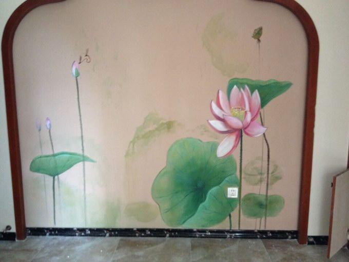 荷花墙绘素材 墙绘荷花案例 制作荷花墙体彩绘的公司