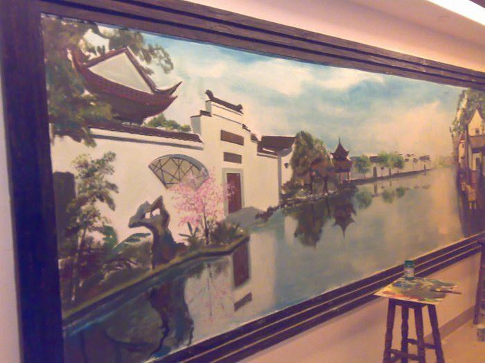 苏州园林手绘墙