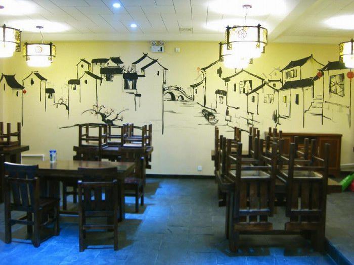 手绘中国风建筑墙