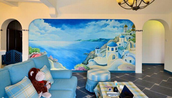 地中海风格客厅手绘墙装修图片
