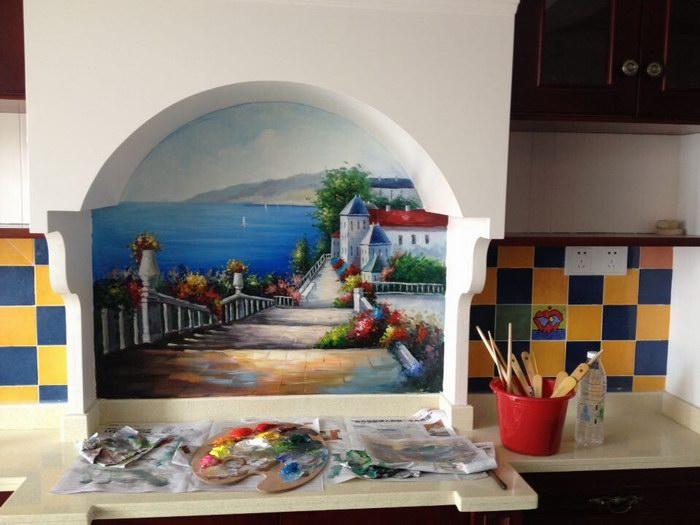 地中海风景墙绘-地中海风格墙绘价格-地中海风景手绘